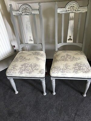 Pair of Classic Arts & Crafts French Painted Chairs Shabby Chic