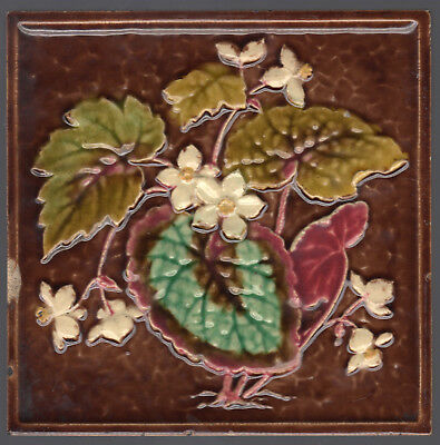 Victorian Embossed Majolica Floral - c1889 - White Flowers - Antique Tile
