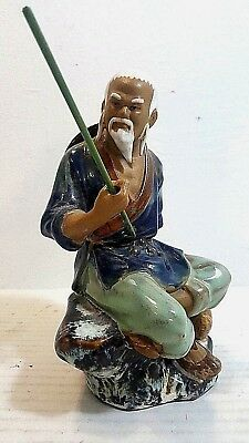 Vintage Hand Painted Glazed Porcelain Chinese Fisherman Figurine