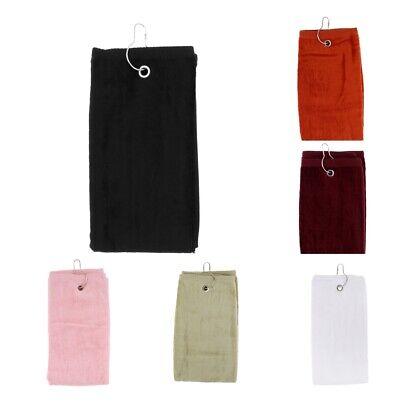 55x40cm Cotton Tri-Fold Hiking Cotton Golf Sport Bag Towel W/Carabiner Clip