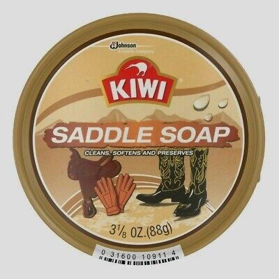 KIWI SADDLE SOAP No Scent Paste Cleans Softens Preserves Leather All Color 3.1oz