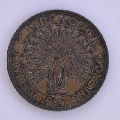 C.D. Peacock Jeweler Chicago, Il Time Is Money 1837 Advertising Hard Times Token