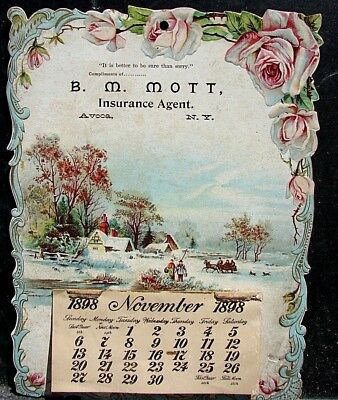 Original Antique 1898 Calendar Advertising B M MOTT Insurance Agent of  Avoca NY