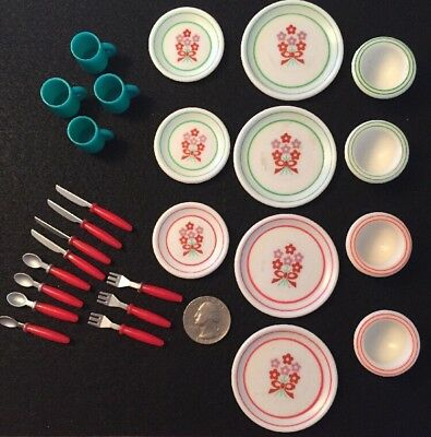 Miniature Dishes Plates Bowls Mugs Utencils Plastic Tableware For Doll 26 Pcs