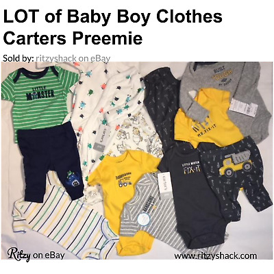Baby Boy Clothes Lot of 12 Carter's Preemie Newborn Infant
