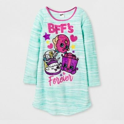 Girls' Shopkins BFF's Forever Teal Striped Long-Sleeve Nightgown, Size 4