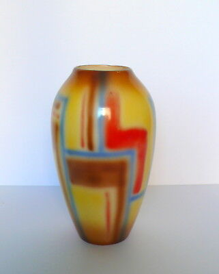 Art Deco Czech Cecho-Slovakia Airbrushed Art Pottery Vase