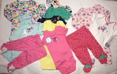 Carter's Baby Girl Clothes Lot of 11 Preemie Newborn Infant NEW