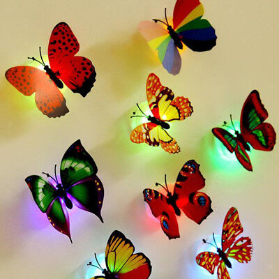 Pack 10 Colorful 3D Butterfly Wall Stickers LED Light Decals Home Decor Room