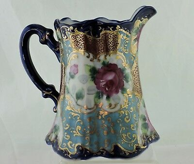 Antique Nippon Cobalt Blue Gold Moriage Hand Painted Rose Flower Pitcher/creamer