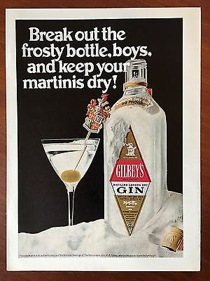 Vintage 1970 Original Print Ad GILBEY'S GIN Frosty Bottle ~Coat of Arms~