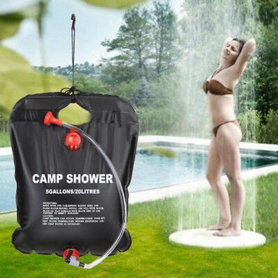 20L Portable Outdoor Camping Hiking Solar Energy Heated PVC Shower Bags Black