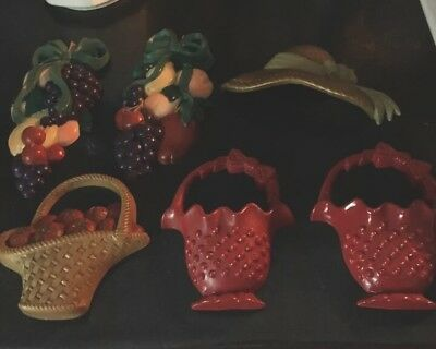 Lot Of Veg KITCHEN FRUIT WALL PLAQUES~APPLE CHERRY GRAPE~Home Interior