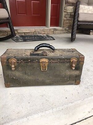 Antique Bell System Telephone Lineman Repair Tool Box with Phone