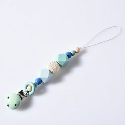 Wooden Gift Silicone Soother Bead Dummy Pacifier Clip For Baby Chew Teething