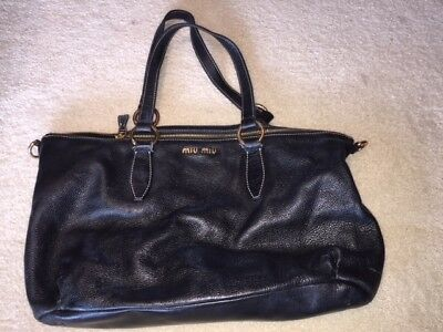 665f666c72e5 AUTHENTIC MIU MIU ( Prada subsidiary) SOFT CALF LEATHER TOTE*BLACK ...