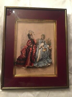 Antique La Mode Illustree Victorian 3D Velour Shadow Box No 23
