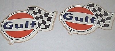 Vintage Gulf Oil 2 Checkered Flag Racing Decal Stickers from 1960's-70's