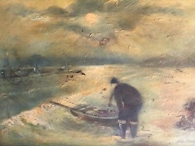 Vintage Oil Painting Sea Fisherman on Board Signed