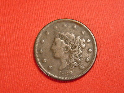 1838 1c Coronet Head Large Cent Penny Full Liberty~Detail