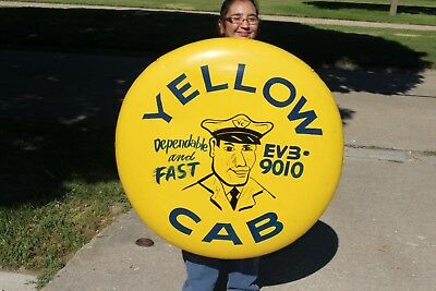 "Rare Large Vintage 1950 Yellow Cab Taxi Gas Oil 36"" Curved Metal Button Sign"