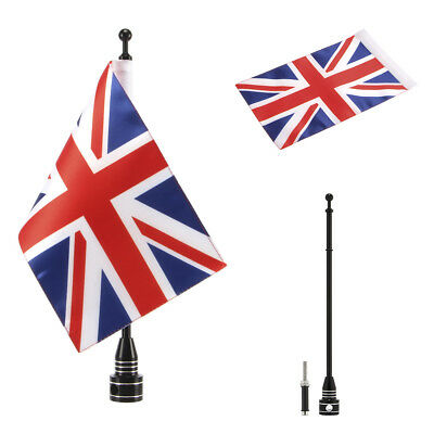 Motorcycle Pole Mount and 1 PCS UK Flag For Honda Yamaha Harley  Black
