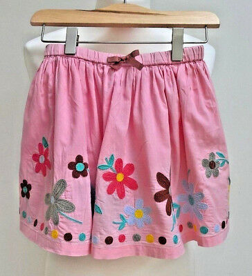 45f0dc50d7902 Boden Childs Skirt Skater Pink Embroidered Flowers Gathered Bow Age 5 to 6  Yrs