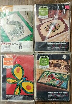 Aunt Lydia's Punch Needle Rug Patterns Canvas Butterfly Peacock Foral 4 VTG LOT