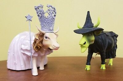 Cow Parade Wizard of Oz Lot of 2 - Glinda the Good Witch and Udderly Wicked Cow