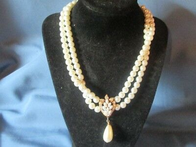 Vintage Gold-Tone Metal Clear Rhinestone & Faux Pearl Bead Necklace