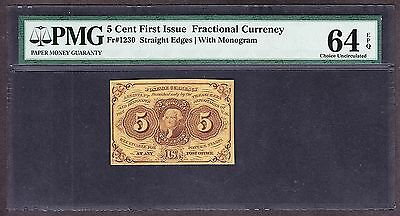 US 5c Fractional Currency Note 1st Issue w/ 'ABC' FR 1230 PMG 64 EPQ V Ch CU