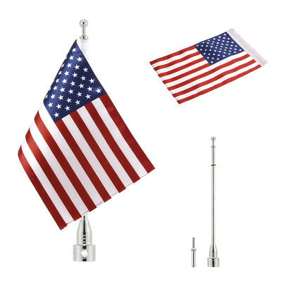Motorcycle Pole Mount and 1 PCS USA Flag For Honda Yamaha Harley  Silver