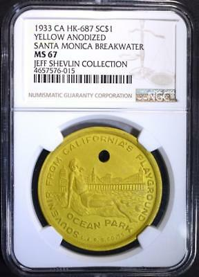 1933 Hk-687 Yellow Anodized, Ngc Ms-67 Rare So Called Dollar