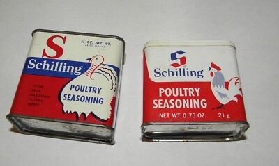 2 Vintage Schilling POULTRY SEASONING Spice Tins 7/8oz Turkey .75 oz Rooster