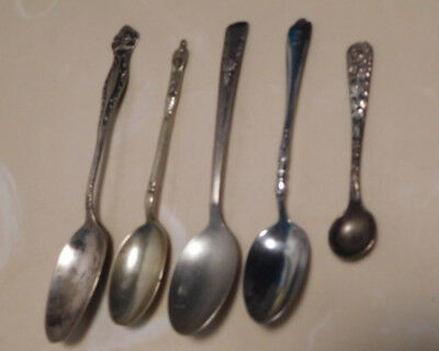 5 silver silverplate small spoon lot salt figural vintage Camelia Art Silver Co