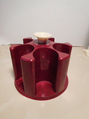 Vintage Victory deep red marble pattern plastic poker chip caddy mid century