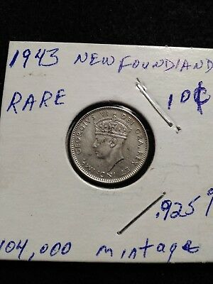 Lot of 3 High Grade 1943 Newfoundland coins, Sterling Silver