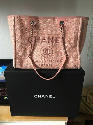 c834ef8b6fbb Authentic Chanel Deauville Pink Canvas Shopping Tote Bag 2018 new design