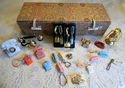 Box Of 20 Vintage Bell Telephone Mini Princess & Trimeline Phone Keychains Plus