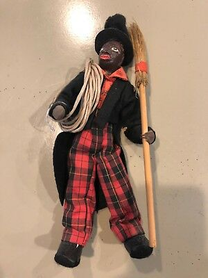 Early Antique Primitive Black Americana Chimney Sweep Male Doll