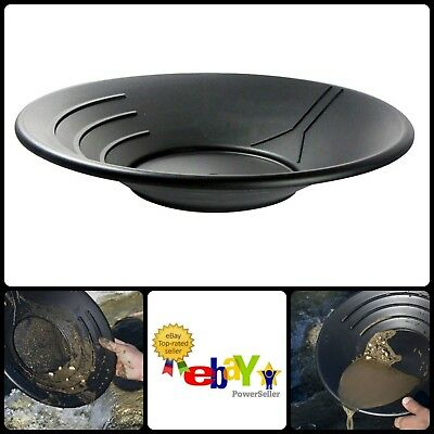 Three Riffles Black Plastic Gold Plate Pan 14 Inches Diameter For Trapping Gold