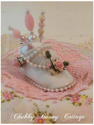 Shabby romantic cottage chic Baby shoe pin cushion pink