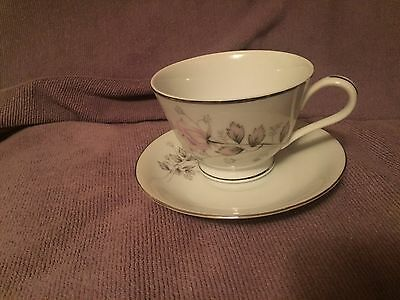 Mt Hira Pink Rosebud footed cup with saucer