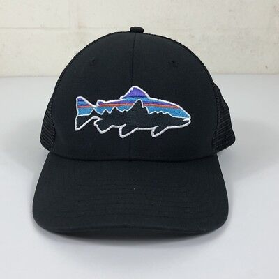 f7e197943d148 PATAGONIA MENS FITZ Roy Trout Trucker Hat Black - EUC -  27.00 ...
