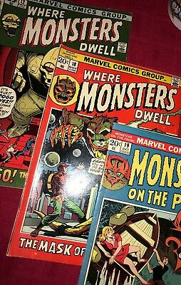 Where Monsters Dwell 12, 18 And Monsters On The Prowl 19 VGD