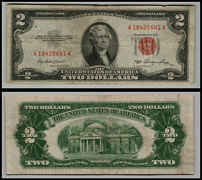 1953 $2 Dollar Bill Old Us Note Legal Tender Paper Money  Red Seal L==0365