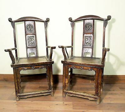 Antique Chinese High Back Arm Chairs (5516) (Pair), Circa 1800-1849
