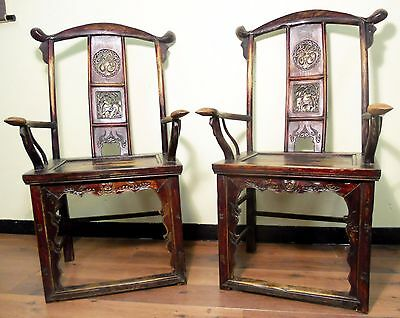 Antique Chinese High Back Arm Chairs (5085) (Pair), Circa 1800-1849