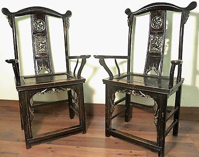 Antique Chinese High Back Arm Chairs (5889) (Pair), Circa 1800-1849