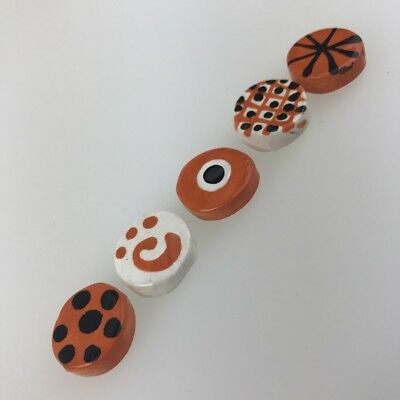 CERAMIC CIRCLES Mosaic Tile x5 - Orange ~ Mosaic Inserts, Art, Craft Supplies
